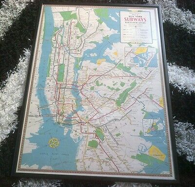 Hagstrom's Large Framed Map of New York Subways Elevated Lines - Great Condition