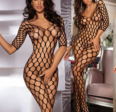 Sexy Crotchless Long Sleeve Open Net Bodystocking Catsuit Lingerie UK 8-12