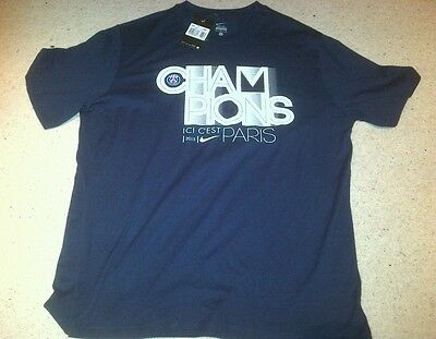 Paris St Germain Blue Supporters T-Shirt by Nike - Size XL -BNWT