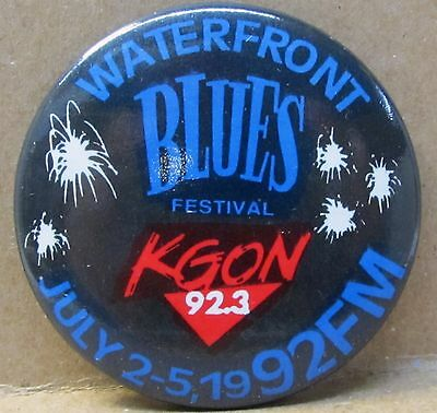 1992 KGON RADIO WATERFRONT BLUES FESTIVAL Portland Oregon pinback button