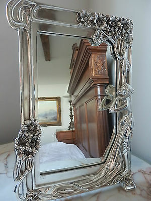 Silver 'ART NOUVEAU' Style Dressing Table Top Mirror