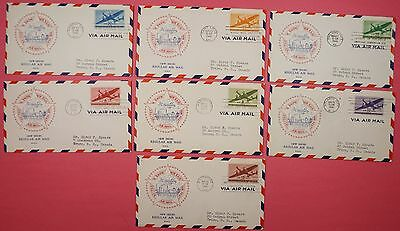 7 FDCs 1941 #C25-C31 AIRMAIL SET 1C-50C MATCHED GRANDY CACHET COVERS