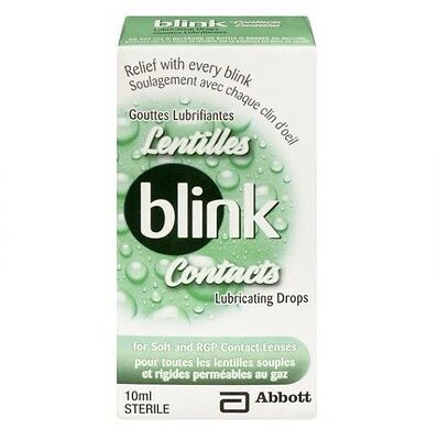 LOT OF 2 Blink Contacts Lubricating Eye Drops 10ml - Free & Fast 4 Day US Ship!