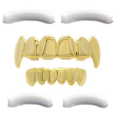 Gold Plated Hip Hop Teeth Grillz Top Fangs & Bottom Grill with Extra Moldings