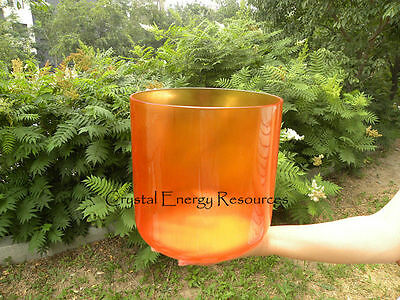 Orange D Sacral Chakra Clear Quartz Crystal Singing Bowl 7""