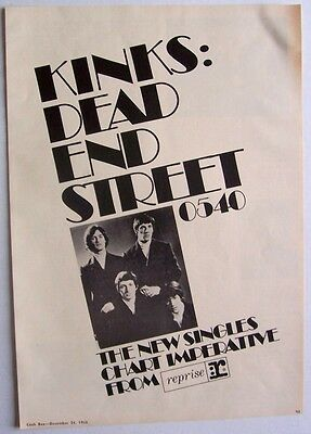 THE KINKS 1966 Poster Ad DEAD END STREET