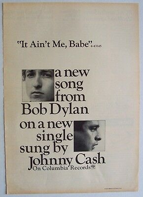 JOHNNY CASH BOB DYLAN 1964 Poster Ad IT AIN'T ME BABE
