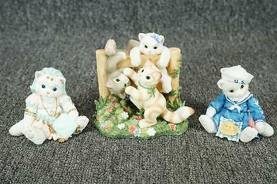 Vintage Lot Of 3 Enesco Calico Kittens Figurines