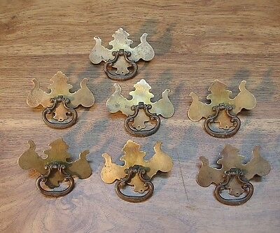 "7 Brass Colored Steel Drawer Pulls,3-9/16""W,Dresser,Bureau,Desk,Antique English"