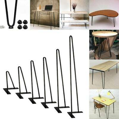 "Black Coffee Table Hairpin Legs 8"" 16"" 22"" 30"" (4pcs) 3/8"" Solid Iron Metal Bar"