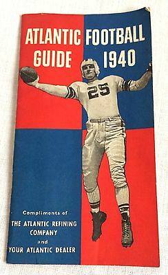1940 Atlantic Refining Gas Oil Co Football Guide Booklet Vintage Pamphlet