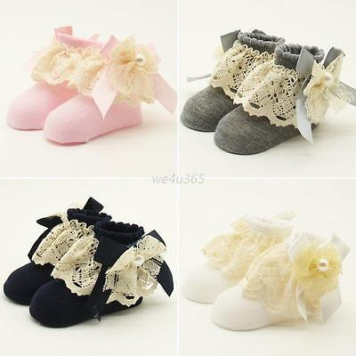 1 Pairs Baby Girl  Lace Soft Cotton School Socks Kids Toddler Socks 0-12 Months