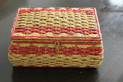 Vintage Sewing Basket Woven Sewing Box made in Japan