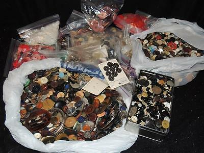 Lot Of Over 18 Pounds Of New & Used Buttons & Buckles (Some Packaged)