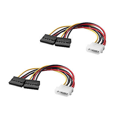 2x 4 Pin IDE Male Molex to Dual SATA Y Splitter Female HDD Power Adapter Cable