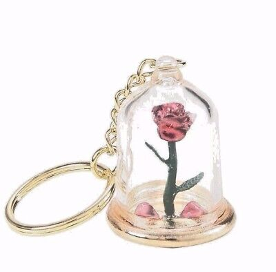 Disney Beauty And The Beast Enchanted Rose Petals In Glass Dome Key Chain New
