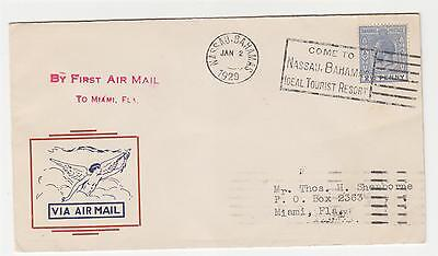 BAHAMAS, 1929 KGV 2 1/2d. on First Flight Airmail cover to Miami.