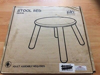 John Crane Kids Red Stool With Natural Legs