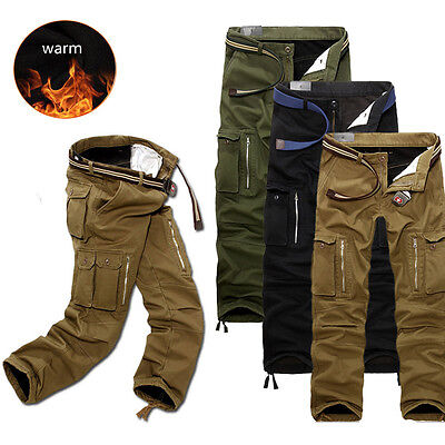 Mens Winter Warm Cargo Combat Camo Pants Polar Fleece Lining Thicken Trousers