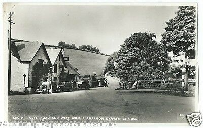 Llanarmon Glyn Road and West Arms Hotel Motor Cars Signpost RP by Frith #LDC14