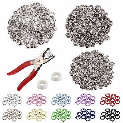 200pcs Prong Pliers Ring Press Studs Snap Popper Fasteners 9.5mm Silver DIY Tool