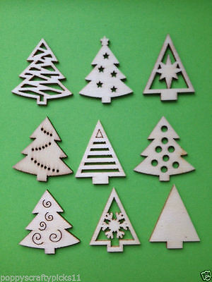 9 Natural Wooden Christmas Tree Card Making Scrapbooking Craft Embellishments