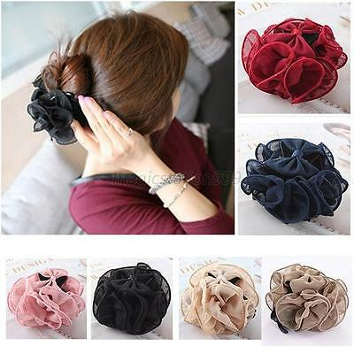 Women Chiffon Pure Large Flower Clamp Barrette Bow Claw Clip Hair Headwear Gift