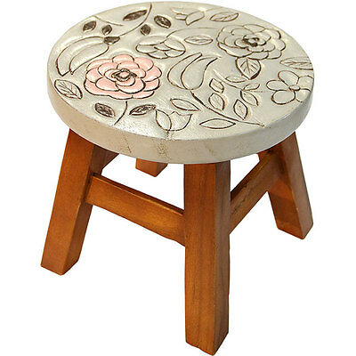 Hand Carved Solid Wooden Child's Stool/Step