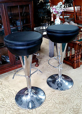 2 x 1970s spacey retro bar stools adjust - leatherett & chrome - ice cream space