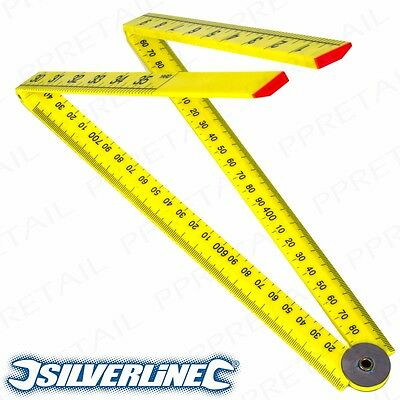 SILVERLINE 1m YARD STICK FOLDING RULER PLASTIC RULE Measure Metre 3ft YELLOW