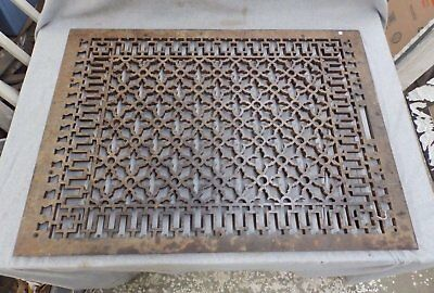 Antique Cold Air Return Heat Grate Gothic Pattern Vent Old Vintage 26x37 1947-16