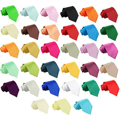 New Premium Satin Solid Plain Page Boy Necktie Wedding Party Classic Boy's Tie