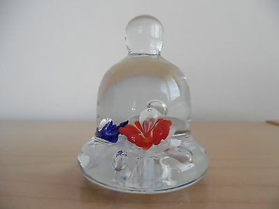 Vintage Joe St. Clair Bell~Shaped Small Glass Paperweight~Red~White~Blue Flowers