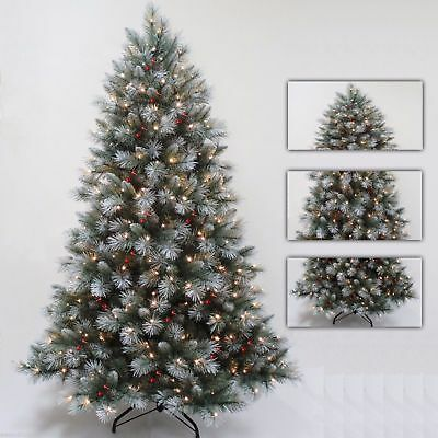Premium Green Frosted Pre-Lit Tree Warm White LEDs Pine Cones Red Berrys New