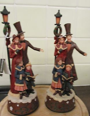 2 Christmas Musical Dickens Carolers Figurines
