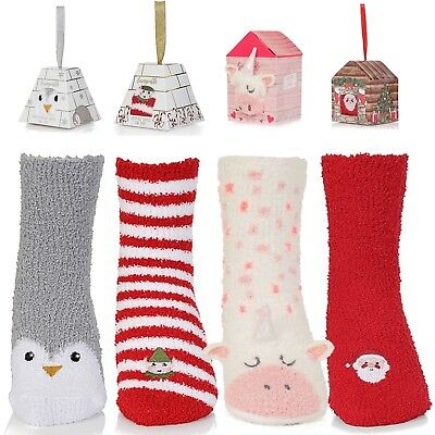 Chenille Novelty Womens Christmas Warm Slipper Socks Non Slip Slippers Bed Boots