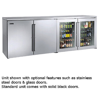 """Perlick BBRLP96 96"""" Low Profile Four-Section Refrigerated Back Bar Cabinet"""