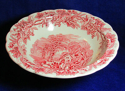 "C1910 Booths Red Transferware British Scenery Vegetable Bowl 8 5/8"" England"