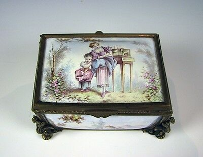 Antique 19th Century French Enamel Decorated Hand Painted Dresser or Trinket Box