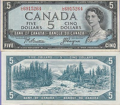Canada 5 Dollars Banknote 1954 Choice Very Fine Condition Cat#77-A-5369