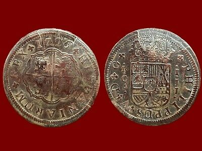 *Prados* 1726 SPANISH COLONIAL COIN SILVER 1 REAL PHILIP V (JJ), MINT CUENCA