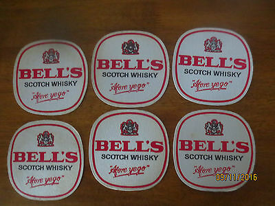 6  X  BELL,S  SCOTCH WHISKY 1980,s Issue collectable COASTERS Thin