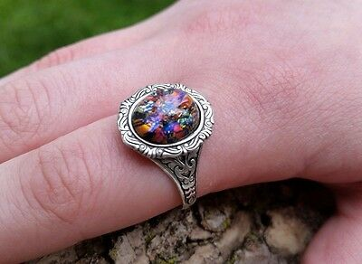 Black Opal Ring Vintage rare and limited SS finish SALE Low Shipping