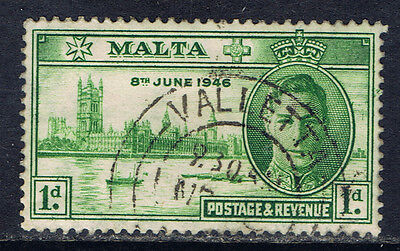 Malta #206(1) 1946 1 pence bright green King George VI Used