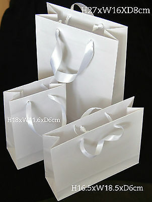 10 Luxury White Paper Gift Party Bags Satin Handle Small Medium Large