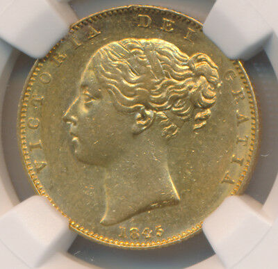 Great Britain GOLD Sovereign 1845 - NGC AU 58