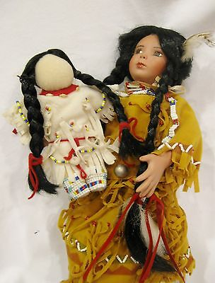 """Native American Indian Girl with Doll   Porcelain Doll w/ metal Stand  13"""""""