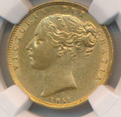 Great Britain GOLD Sovereign 1851 Near Date - NGC AU 58