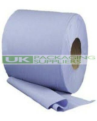 6 BLUE CENTRE FEED ROLL 2 PLY PAPER TISSUES TOWELS SIZE 185mm WIDE 130 METRES