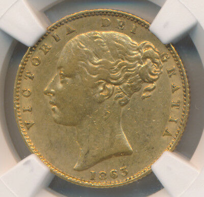 Great Britain GOLD Sovereign 1863 No Die Number - NGC XF 45